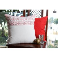 White And Red Cushion Covers ( Set Of 2)