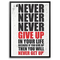 Never Give Up In Your Life Gym Motivational Quotes Framed Poster