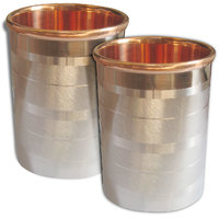 Prisha India Set Of 2,  Copper Glass Drinkware Tumbler Indian Copper Utensils - 6438302