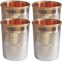 Prisha India Set Of 4, Copper Glass Drinkware Tumbler Indian Copper Utensils - 6438306