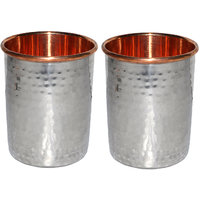 Prisha India Set Of 2, Copper Glass For Ayurvedic Health Benefits - 6438568