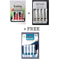 Uniross 4 Hybrio 2100 Mah Rechargeable Batteries With Envie Charger