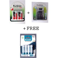 Uniross 4 Hybrio 2100 Mah Rechargeable Batteries With Uniross Rapid Charger