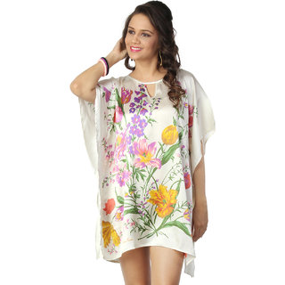 Love From India - Off White Floral Print Poncho