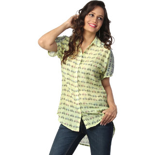 Love From India  Yellow Cycle Print Tunic _buy One Tunic Get One Scraf Free