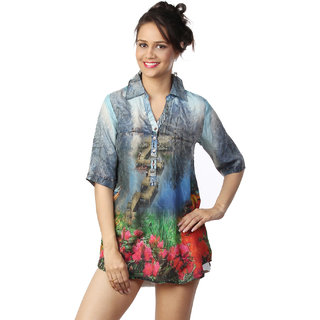 Love From India - Blue Scenery Print Shirt