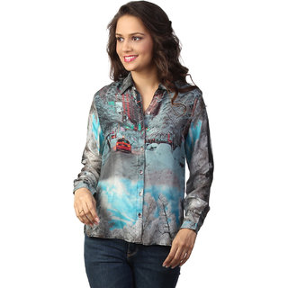 Love From India - Grey Scenery Print Shirt