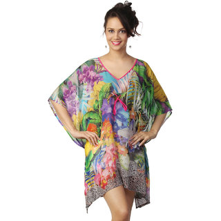Love From India - Pink Tropical Forest Print Poncho