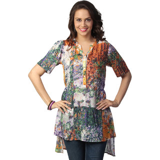 Love FromIndia Orange Abstract Tree Print Tunic_buy One Tunic Get One Scraf Free