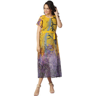 Love From India - Yellow Forest Tree Print Dress