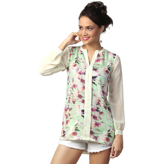Love FromIndia GreenSequined Floral Print Tunic_buy One Tunic Get One Scraf Free