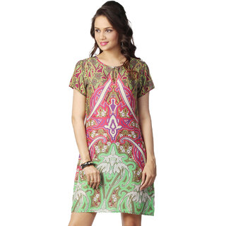 Love From India - Green Symmetrical Print Dress