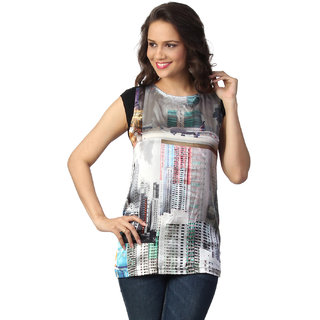 Love From India  Grey Building Print Tunic _buy One Tunic Get One Scraf Free
