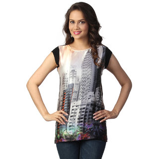 Love From India  Off White Building Print Tunic_buy One Tunic Get One Scraf Free