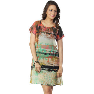 Love From India - Yellow Palm Tree Scenic Print Dress
