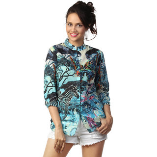 Love From India  Blue Animal Jungle Print Tunic_buy One Tunic Get One Scraf Free