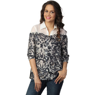 Love From India  Grey Floral Print Tunic _buy One Tunic Get One Scraf Free