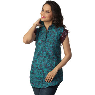 Love FromIndiaTurquoise Tunic With Paisley Print_buyone Tunic Get One Scraf Free