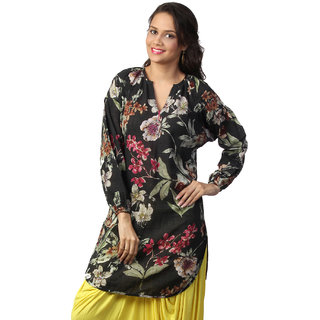 Love From India  Black Tunic With Floral Print _buy One Tunic Get One Scraf Free