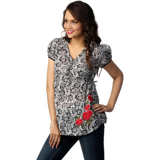 LOVE FROM INDIA BLACK FLORAL PRINTED TUNIC _buy One Tunic Get One Scraf Free