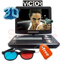 Victor 7.8 Inches 3D Portable DVD Player With USB With Game, 3D Sunglasses - 6466502
