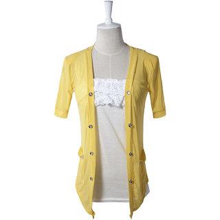 Hi-Fashion:Stylish Rhinestone Pocket Flower Transparent Back Coat Yellow(Size:S)