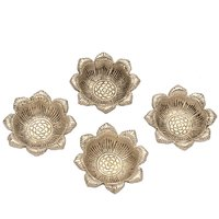 Disc Creations Set Of 4 Designer Flower Shaped Deepak In Metal