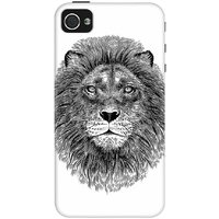 DailyObjects Black And White Lion Case For IPhone 4/4S