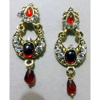 Jarani Maroon Stone And Pearl Studded Meena Dangler Earrings For Women