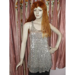 KCBL Sleeveless Beige Sequins Top
