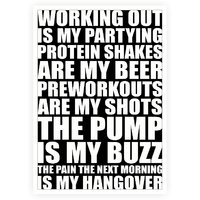 Working Out Is My Partying Protein Shakes Are My Beer Gym Fitness Quotes Poster