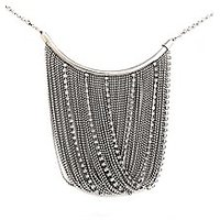 Victorian Style Beaded Metal Necklace (Silver)- (JW019310)