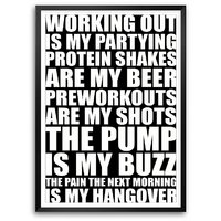 Working Out Is My Partying Protein Shakes Are My Beer Gym Framed Quotes Poster