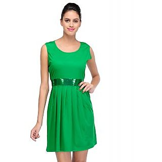 Sukuma Green Stylish Knee Length Dress