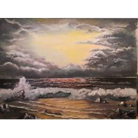 """Original  Oil Paint """"Dusk At The Shore""""  Hand Made Painting By Anu"""