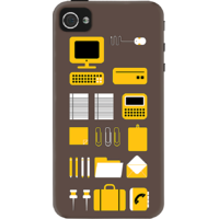 Dailyobjects Dark Office Essentials Case For Iphone 4/4S Grey