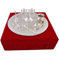 Hand-e-Crafts Silver Plated Brass Pooja Thali With Laxmi & Ganesh Idols Set Of 9 Pcs