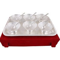Hand-e-Crafts Silver Plated 6 Brass Bowls And Spoon Set With Tray