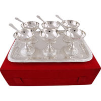 Hand-e-Crafts Silver Plated 6 Brass Icecream Bowls And Spoon Set With Tray