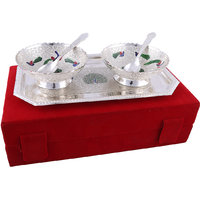 Hand-e-Crafts Silver Plated  Brass Bowls & Spoons With Meenakari Work Set Of 5 Pieces