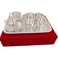 Hand-e-Crafts Silver Plated 6 Brass Tea Cups And Saucer Set With Tray