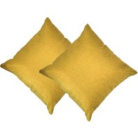 Beledecor Yellow Cushion Cover In Jute Design Set Of 2