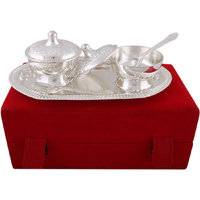 Hand-e-Crafts Silver Plated 2 Brass Mouth Freshner Bowls & Spoon Set With Tray