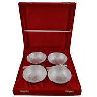 Hand-e-Crafts Silver Plated 4 Brass Bowls & Spoon Set