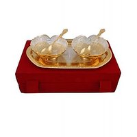Hand-e-Crafts Silver And Golden Plated 2 Brass Heart Shaped Bowls & Spoon Set With Tray
