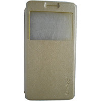 Kelpuj Flip Cover For Asus Zenfone 5 - High Quality With Caidea -Gold - Rubber