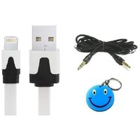 Combo Of IPhone 5 USB Flat Data Cable + AUX Wire With Free Smiley Key Chain.