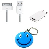 Combo Of Iphone 4 4s USB Cable + Iphone Wall Charger With Free Smiley Key Chain.