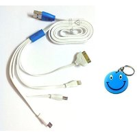 Universal New Style 4-in-1 Flat LED Charging Cable With Free Smiley Key Chain.