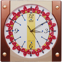 Ajanta Handcrafted Designer Wall Clock (square Brown)
